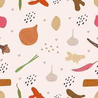 texture disegnate a mano alla moda senza cuciture modello di erbe contorno illustrazione vettoriale di zenzero, peperoncino, cipolla, cipolla rossa, aglio, chiodi di garofano, zafferano, citronella, curcuma. disegno della stampa del tessuto del fumetto
