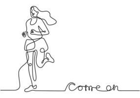 continuo un disegno della giovane donna atleta runner focus sprint run. ragazza di carattere che corre intorno isolato su sfondo bianco. sport e concetto di stile di vita sano. illustrazione vettoriale