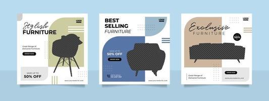 banner di vendita di mobili minimalisti o modello di post sui social media vettore