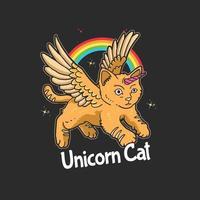 simpatico gatto unicorno illustrazione vettoriale