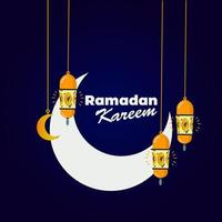 sfondo di luna e lanterna di ramadan kareem vettore