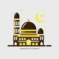 Ramadan Kareem banner design minimalista disegno della moschea vettore