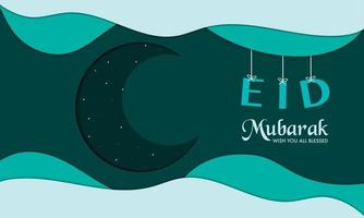 eid mubarak con carta a mezzaluna vettore