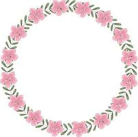 vettore corona rotonda di fiori che sbocciano rosa e foglie verdi. la cornice ha posto per il testo all'interno.