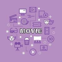 icone di contorno minimo di film vettore