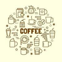 set di icone di caffè linea sottile minima vettore