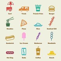 elementi di cibo di strada vettore