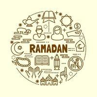 Set di icone di linea sottile minima di Ramadan vettore