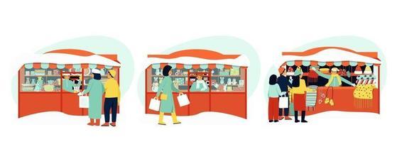 una serie di bancarelle per illustrare le fiere invernali. i venditori ambulanti servono gli acquirenti. la vendita immagazzina giocattoli, piatti, vestiti. stagione invernale. illustrazione vettoriale piatta.
