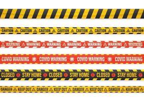diverso set di nastri di avvertimento covid isolato su bianco vettore