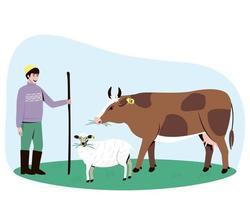 un pastore conduce una mucca e una pecora al pascolo vettore