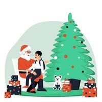 ragazzo seduto tra le braccia di Babbo Natale vettore