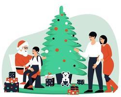 famiglia felice in visita a Babbo Natale vettore