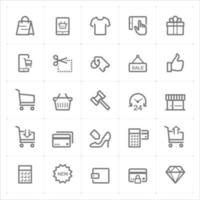icone di linea dello shopping e del commercio. Illustrazione vettoriale su sfondo bianco.