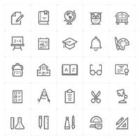 icone di linea di scuola e istruzione. Illustrazione vettoriale su sfondo bianco
