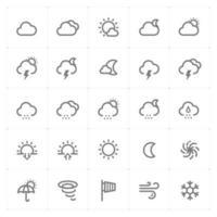 icone delle linee meteo e previsioni. Illustrazione vettoriale su sfondo bianco.