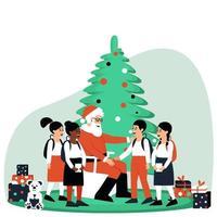 bambini felici che salutano Babbo Natale vettore