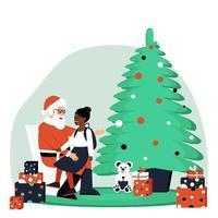 una ragazza afroamericana si siede tra le braccia di Babbo Natale vettore