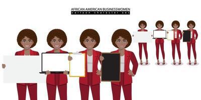 il personaggio dei cartoni animati della donna di affari dell'afroamericano in diverse pose ha isolato l'illustrazione di vettore
