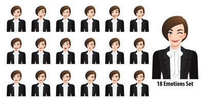 bella imprenditrice in abito nero con diverse espressioni facciali impostato isolato nell'illustrazione di vettore di stile del personaggio dei cartoni animati