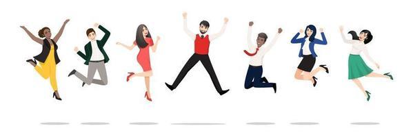 imprenditori saltando per celebrare la vittoria. allegre persone multirazziali che celebrano insieme. un gruppo eterogeneo di colleghi della squadra della compagnia felice che salta. collezione di personaggi vincenti di vettore piatto