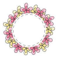 cornice rotonda estiva con con fiori gialli e rosa disegnati a mano vettore