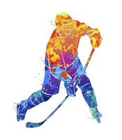 giocatore di hockey astratto da una spruzzata di acquerelli. sport invernali. illustrazione vettoriale di vernici