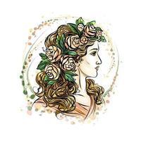 volto disegnato a mano di una bella donna in una corona di fiori. ragazza carina con i capelli lunghi. schizzo. illustrazione vettoriale