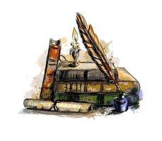 pila di libri, carta, scorrimento, diploma, penna d'oca e candela in un candeliere da una spruzzata di acquerello, schizzo disegnato a mano. illustrazione vettoriale di vernici