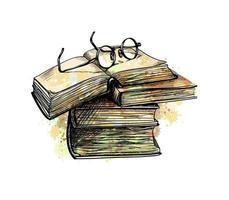 occhiali da vista sui libri della pila superiore e libro aperto da una spruzzata di acquerello, schizzo disegnato a mano. illustrazione vettoriale di vernici