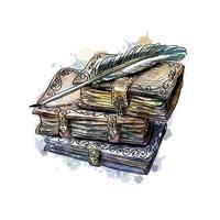 pila di libri antichi e penna da una spruzzata di acquerello, schizzo disegnato a mano. illustrazione vettoriale di vernici
