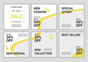 set di vettore di design di copertina creativa per modello di post sui social media. sfondi di raccolta modificabili con banner puzzle astratto giallo e bianco di colore fresco per la promozione della vendita flash di moda