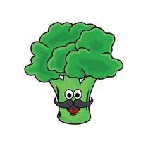 baffi uomo carino broccoli carattere vettoriale modello design illustrazione