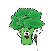 cantando carino broccoli carattere vettoriale modello design illustrazione