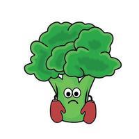 illustrazione di progettazione del modello di vettore del carattere del broccolo sveglio del pugile