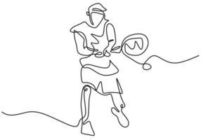 disegno di linea continuo dell'uomo che tiene la racchetta per giocare a tennis. giovane maschio energico pratica tennis isolato su sfondo bianco. sport e concetto di stile di vita sano. illustrazione vettoriale