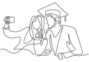disegno di linea continua di studente laureato felice che cattura foto selfie con sua sorella isolato su priorità bassa bianca. concetto di celebrazione della laurea. linea disegnata a mano arte minimalismo design vettore