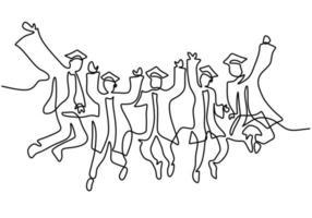 un disegno a tratteggio di giovane laureato felice studente di college maschio e femmina saltando stile minimalismo arte linea continua disegnata a mano su sfondo bianco concetto di celebrazione. illustrazione di schizzo vettoriale