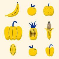 design mix di frutta tropicale su sfondo bianco. set di icone di cibo come banana, arancia, mela, zucca, limone, mais, frutta a stella. raccolta di illustrazioni per materiale stampato, confezionamento, carta da parati vettore