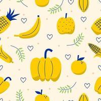 simpatico motivo a frutta disegnato a mano, trama di cibo tropicale in stile infantile per la stampa di tessuti, carta da parati, menu e copertine. banana, ananas, pera, mela, limone, ciliegia, fragola, frutto del drago vettore