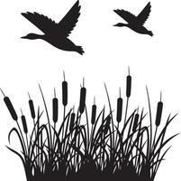 anatre volanti e canne sfondo silhouette illustrazione vettoriale