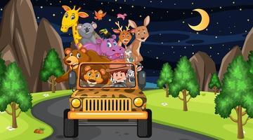 concetto di zoo con gruppo di animali selvatici nell'auto jeep vettore