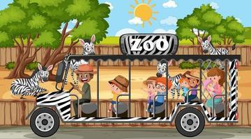 safari in scena diurna con bambini che guardano la zebra vettore