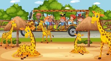tour per bambini nella scena del safari con molte giraffe vettore