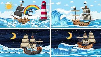 set di oceano con nave pirata in scene di momenti diversi in stile cartone animato vettore