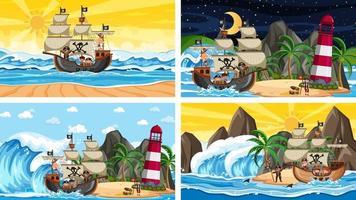 set di diverse scene di spiaggia con nave pirata e personaggio dei cartoni animati pirata vettore
