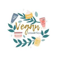 icona, logo di cosmetici vegani. piante, rami, barattoli di crema e tubi, elementi decorativi in un cerchio. immagine vettoriale su uno sfondo bianco