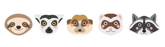 una serie di facce di animali carini. bradipo, lemure, suricato, furetto e procione. immagine piatta vettoriale su sfondo bianco