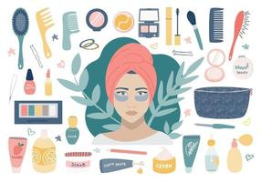 grande set cosmetico con cosmetici per la cura della persona. una ragazza con le toppe sotto gli occhi, una borsa per i trucchi e il suo contenuto. immagine vettoriale su uno sfondo bianco