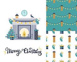 impostato con un biglietto di auguri di Natale. camino con albero di natale e regali. due modelli festivi. immagine piatta vettoriale